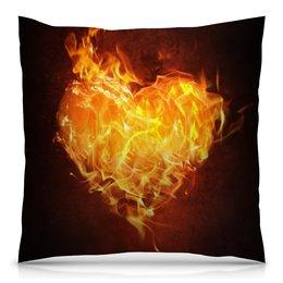 """Подушка 40х40 с полной запечаткой """"Огненное сердце"""" - сердце, любовь, огонь, страсть, чувства"""