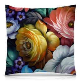 """Подушка 40х40 с полной запечаткой """"Colorfull flowers"""" - любовь, арт, цветы, романтика, красивый"""