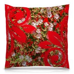 """Подушка 40х40 с полной запечаткой """"Яркий день."""" - цветы, красный, ромашки, цветник, яркое настроение"""