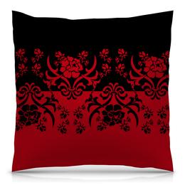 """Подушка 40х40 с полной запечаткой """"Красно-черный"""" - цветы, узор, черный, красный, орнамент"""