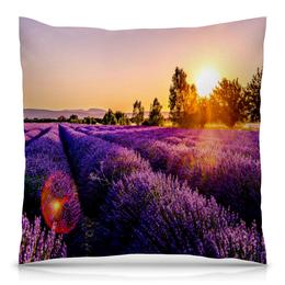 """Подушка 40х40 с полной запечаткой """"Поле цветов"""" - цветы, природа, закат, пейзаж, поле"""