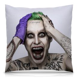 """Подушка 40х40 с полной запечаткой """"Джокер"""" - joker, джаред лето, злодей, отряд самоубийц, suicide squad"""