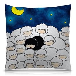 """Подушка 40х40 с полной запечаткой """"Сладких снов"""" - ночь, дом, сны, овечка, овцы"""