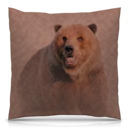 """Подушка 40х40 с полной запечаткой """"Медведь"""" - рисунок, животное, коричневый, бурый"""