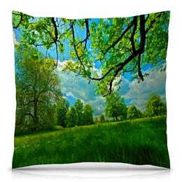 """Подушка 40х40 с полной запечаткой """"Весенний пейзаж"""" - весна, деревья, природа, пейзаж, трава"""