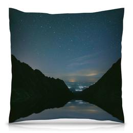 """Подушка 40х40 с полной запечаткой """"Вечерний пейзаж"""" - звезды, природа, горы, вода, берег"""