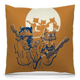 """Подушка 40х40 с полной запечаткой """"Кошачий концерт"""" - музыка, группа, кошки, джаз, концерт"""