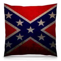 "Подушка 40х40 с полной запечаткой ""Флаг Конфедерации США"" - война, америка, флаг, сша, флаг конфедерации"