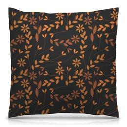 """Подушка 40х40 с полной запечаткой """"Узор цветов"""" - цветы, листья, осень, деревья, природа"""