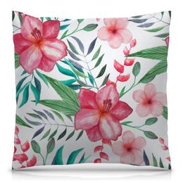 """Подушка 40х40 с полной запечаткой """"Цветы"""" - цветы, листья, лес, природа, тропики"""