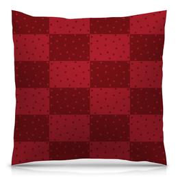 """Подушка 40х40 с полной запечаткой """"Красный геометрический узор"""" - красный, тон, горох, прямоугольник, оттенок"""