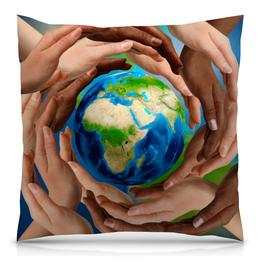 """Подушка 40х40 с полной запечаткой """"Земля"""" - руки, планета, земля, шар, материк"""