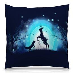 """Подушка 40х40 с полной запечаткой """"Животные"""" - животные, ночь, луна, олень, лиса"""