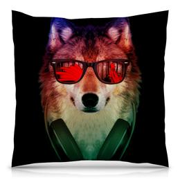 """Подушка 40х40 с полной запечаткой """"Волк в очках"""" - арт, наушники, абстракция, волк, диджей"""