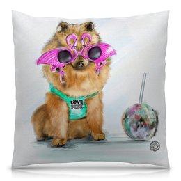 """Подушка 40х40 с полной запечаткой """"шпиц в очках"""" - лето, животные, мило, собаки, иллюстрации"""