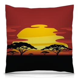 """Подушка 40х40 с полной запечаткой """"Африка"""" - солнце, африка, графика, закат, саванна"""