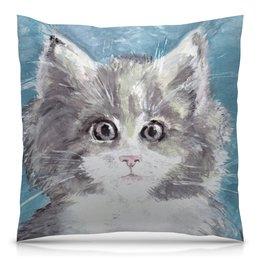 """Подушка 40х40 с полной запечаткой """"Взгляд. Кошка"""" - кот, кошка, взгляд, подарок, зверь"""