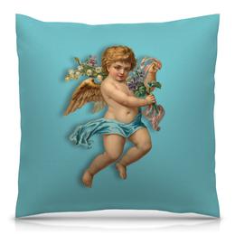 """Подушка 40х40 с полной запечаткой """"Ангел"""" - крылья, цветы, ангел, ребенок, букет"""
