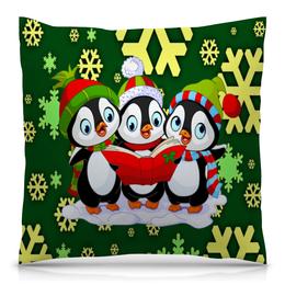 """Подушка 40х40 с полной запечаткой """"Пингвины"""" - праздник, новый год, животные, пингвины, снежинки"""
