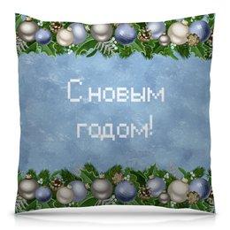 """Подушка 40х40 с полной запечаткой """"Новый год"""" - праздник, новый год, зима, игрушки, елка"""