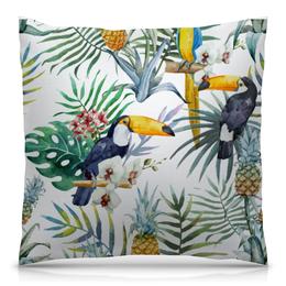 """Подушка 40х40 с полной запечаткой """"Пеликан и ананасы"""" - красиво, птицы, природа, ананас, пеликан"""