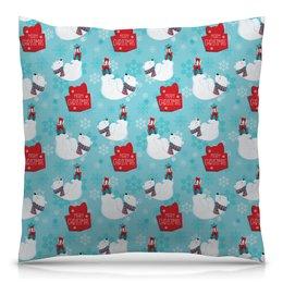"""Подушка 40х40 с полной запечаткой """"Белые медведи"""" - новый год, медведь, мишка, рождество, белый медведь"""