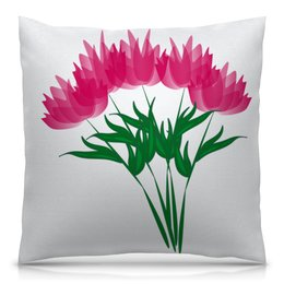 """Подушка 40х40 с полной запечаткой """"розовые абстрактные цветы"""" - праздник, цветы, розовый, подарок, букет"""