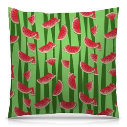 """Подушка 40х40 с полной запечаткой """"Арбуз"""" - полоска, красный, ягода, зеленый, семена"""