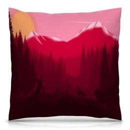 """Подушка 40х40 с полной запечаткой """"Природа"""" - животные, лес, деревья, природа, горы"""