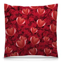 """Подушка 40х40 с полной запечаткой """"Сердечки и розы"""" - день святого валентина, 14 февраля, сердечки, розы, день влюблённых"""