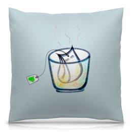 """Подушка 40х40 с полной запечаткой """"Время пить чай"""" - чай, релакс, блаженство, время чая, чайный пакетик"""