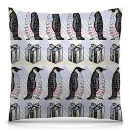 """Подушка 40х40 с полной запечаткой """"пингвины"""" - новый год, пингвины, зима, птицы, подарки"""