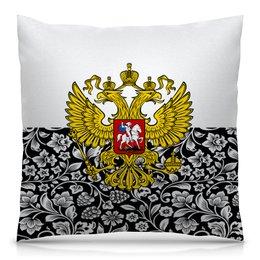 """Подушка 40х40 с полной запечаткой """"Цветы и герб"""" - цветы, россия, герб, орел, хохлома"""