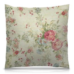 "Подушка 40х40 с полной запечаткой ""Винтаж"" - цветы, винтаж, пионы, розы"
