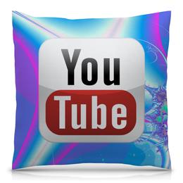 "Подушка 40х40 с полной запечаткой ""YouTube"" - youtube, ютуб"