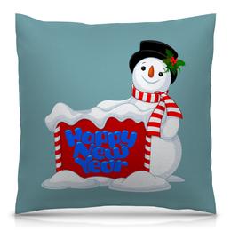 """Подушка 40х40 с полной запечаткой """"Снеговик"""" - новый год, снеговик, снег, праздник, зима"""