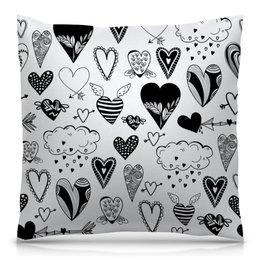"""Подушка 40х40 с полной запечаткой """"Сердечки"""" - черно-белые, сердечки, день влюбленных, любовь, сердце"""