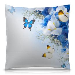 """Подушка 40х40 с полной запечаткой """"Весна"""" - бабочки, цветы, весна, природа, насекомые"""