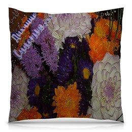 """Подушка 40х40 с полной запечаткой """"Дыхание счастья..."""" - цветы, счастье, букет, цветник, фиолетовая фантазия"""