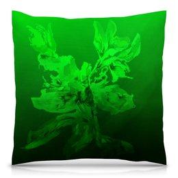 """Подушка 40х40 с полной запечаткой """"Альстромерия. Фантазия"""" - живопись, зеленый, нежный, цветок, акварелью"""