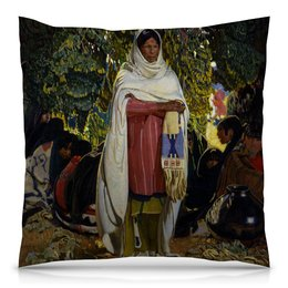 """Подушка 40х40 с полной запечаткой """"Подарок (Эрнест Блуменшейн)"""" - картина, индеец, живопись, эрнест блуменшейн"""