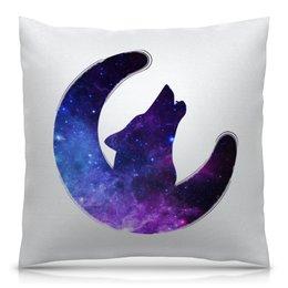 """Подушка 40х40 с полной запечаткой """"Space animals"""" - звезды, космос, вселенная, animal, волк"""