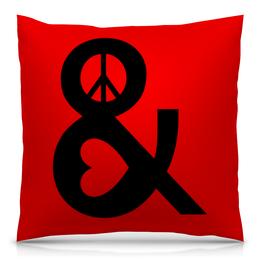 """Подушка 40х40 с полной запечаткой """"Любовь и мир"""" - сердце, любовь, мир"""