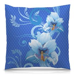 """Подушка 40х40 с полной запечаткой """"Лилии"""" - цветы, голубой, синий, лилия, ромб"""