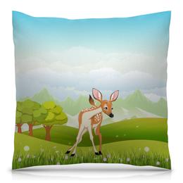 """Подушка 40х40 с полной запечаткой """"Оленёнок"""" - животные, оленёнок, природа, олень, луг"""