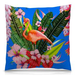 """Подушка 40х40 с полной запечаткой """"Фламинго"""" - фламинго, птица, цветы"""