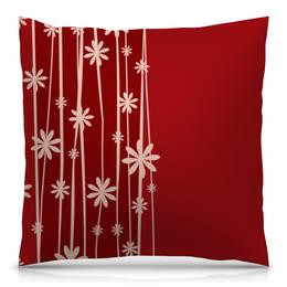"""Подушка 40х40 с полной запечаткой """"Красная поляна"""" - цветы, узор, стиль, рисунок, цветочный"""