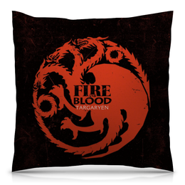 """Подушка 40х40 с полной запечаткой """"Таргариены"""" - дракон, игра престолов, targaryen, пламя и кровь, таргариены"""
