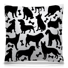 """Подушка 40х40 с полной запечаткой """"Собаки"""" - животные, dog, собака, пёс, косточка"""