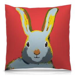 """Подушка 40х40 с полной запечаткой """"Обнимашки с кроликом"""" - заяц, кролик, декор, детская комната, детская иллюстрация"""
